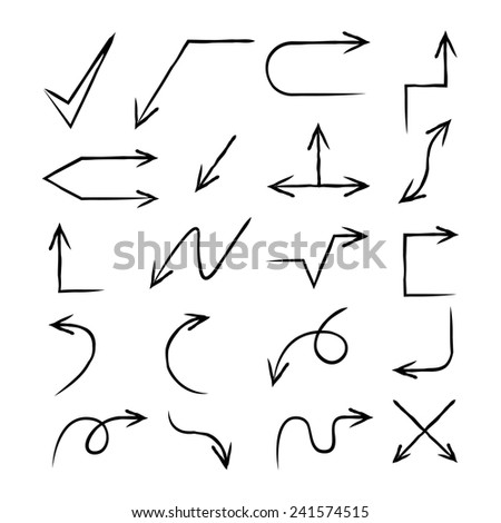hand drawn arrows, vector arrow set #241574515