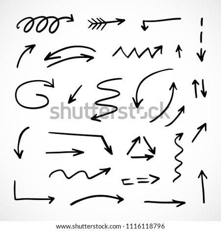 hand-drawn arrows, vector set #1116118796