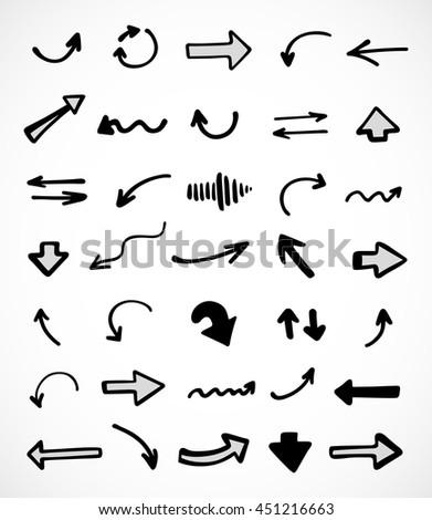 hand-drawn arrows, vector set #451216663