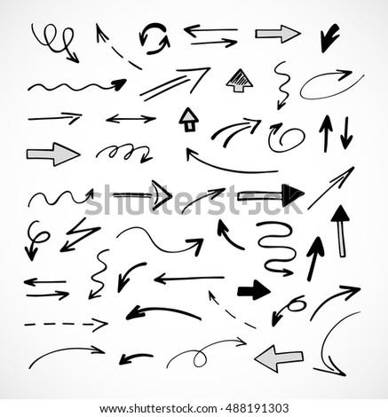 hand-drawn arrows, vector set #488191303
