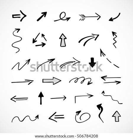 hand-drawn arrows, vector set #506784208