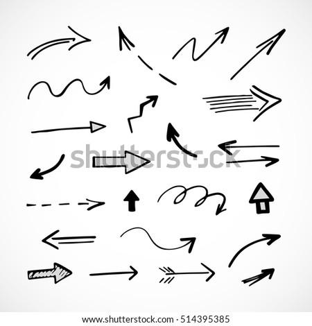 hand-drawn arrows, vector set #514395385
