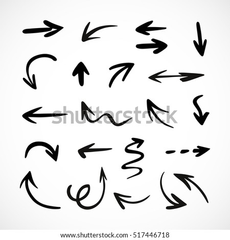 hand-drawn arrows, vector set #517446718