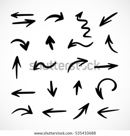 hand-drawn arrows, vector set #535410688