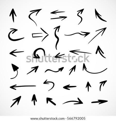hand-drawn arrows, vector set