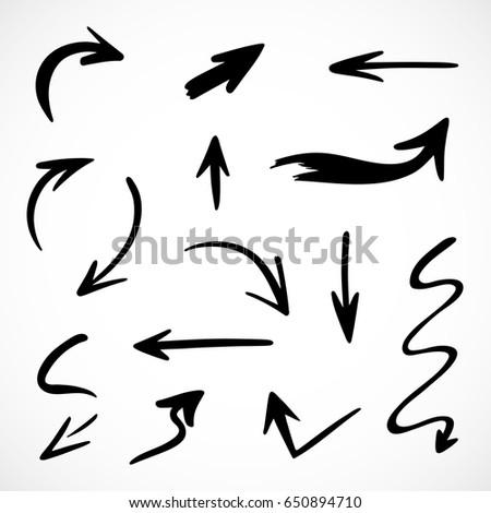 hand-drawn arrows, vector set #650894710