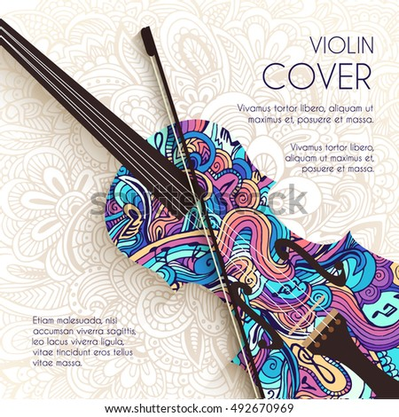 hand drawn art abstract violin