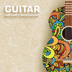 Hand drawn art classic guitar background ornament illustration concept. Vector design