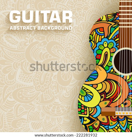 hand drawn art classic guitar