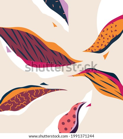 Hand drawn art floral illustration. Stylized plant leaves.