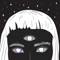 Hand Drawn art of girl with rainbow eyes in the space