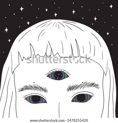 Hand Drawn art of girl with rainbow eyes in the space. Illustrations Drawing Vector Sketch for textile, print, postcard, text, invitation, poster, t-shirt, design try closed eyes with hand and rainbow