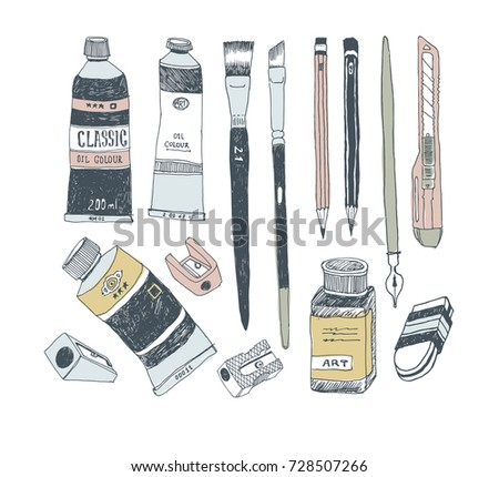 Hand drawn art tools and supplies set. Doodle style. Vector illustration.