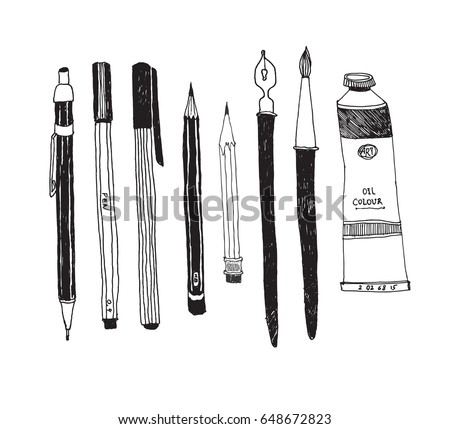 Hand drawn art tools and supplies set. Vector doodle illustration.