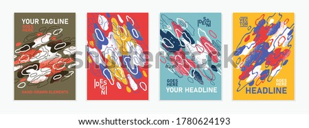 Hand drawn art vector covers abstract backgrounds set, artistic graphic design brochures flyers or booklets, advertising colorful posters, grunge textured abstraction shapes templates collection.