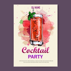 Hand drawn artistic cocktail disco poster. Watercolor paint