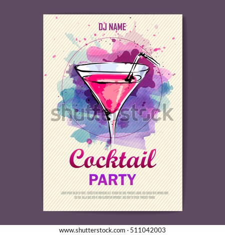 Shutterstock Hand drawn artistic cocktail disco poster. Watercolor paint