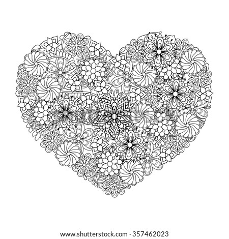 Hand drawn artistic ethnic ornamental patterned Big heart in doodle, zentangle tribal style for adult coloring book, pages, tattoo, t-shirt or prints. Vector illustration