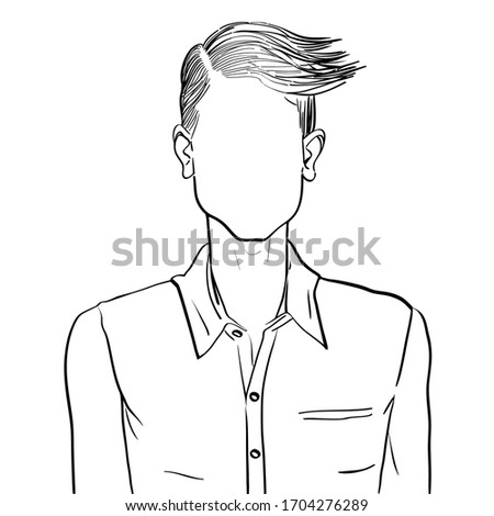 Hand drawn artistic illustration of an anonymous avatar of a young man with comb over hairstyle in an informal shirt, web profile doodle isolated on white