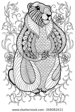 hand drawn artistic marmot groundhog in flowers for adult coloring page a4 size in doodle