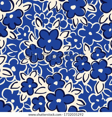 Hand Drawn Artistic Naive Daisy Flowers on Blue Background Vector Seamless Pattern. Blob Blooms, Blotched Floral Print. Expressive Outlines, Organic Large Scale Simplistic Retro Fashion Design Photo stock ©