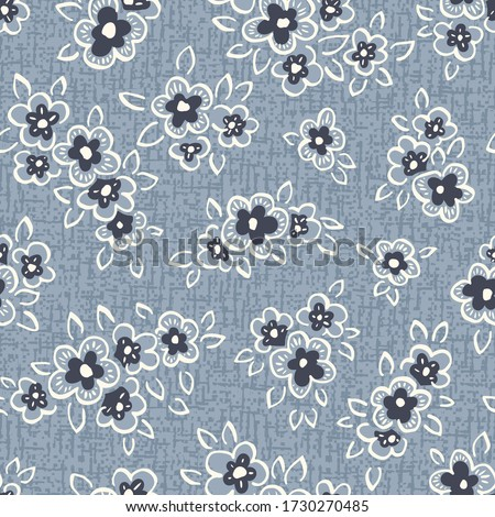 Hand Drawn Artistic Naive Daisy Flowers on Blue Denim Background Vector Seamless Pattern. Blooms, Indigo Floral Print. Expressive Outlines, Organic Large Scale Simplistic Retro Fashion Design Photo stock ©