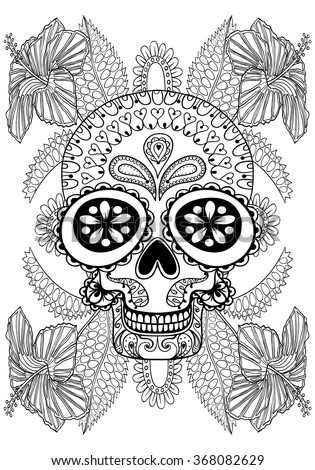 hand drawn artistic skull in