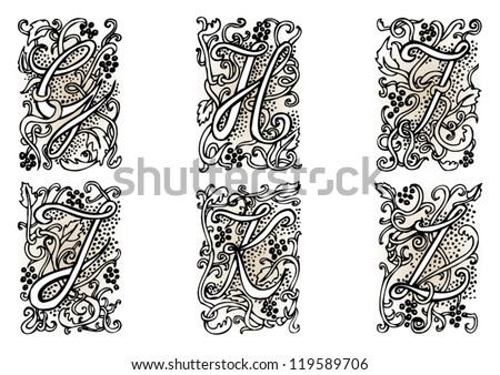 "Hand drawn artistic vector fairytale letters "" g "", "" h "", "" i "", "" j "", "" k "", "" l "".  Whole alphabet downloadable at my portfolio."