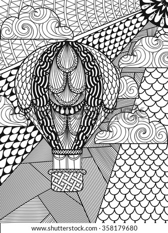 Hand drawn artistically ethnic ornamental patterned air balloon in clouds in doodle, zentangle tribal style for adult coloring book, pages, tattoo, t-shirt or prints. Vector illustration A4 size.