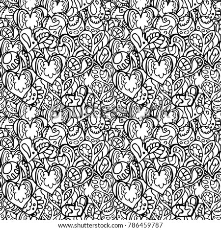 Hand Drawn Artistically Ethnic Ornamental Patterned Heart With Romantic Doodle Elements Of St Valentines Day