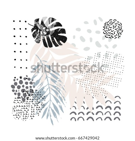 Hand drawn artwork in scandinavian style. Modern vector illustration with tropical leaves, grunge, marbling textures, doodles, minimal elements.