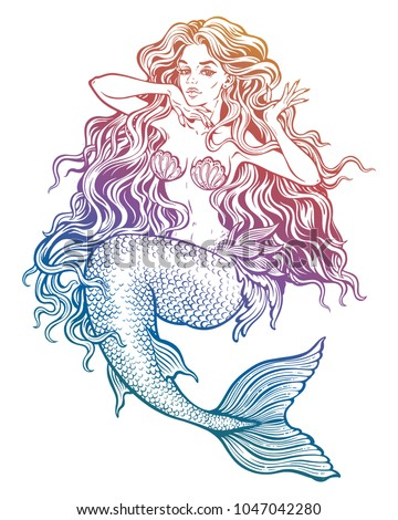 Stock Photo Hand drawn artwork of beautiful mermaid girl with fairytale hair. Graceful ocean siren in retro style. Sea, fantasy, spirituality, mythology, tattoo art, coloring books. Isolated vector illustration.