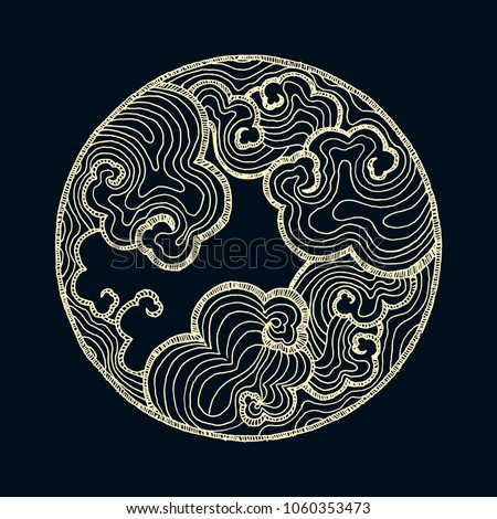 hand drawn asian circle pattern with clouds in ivory and black