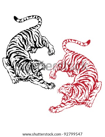 Hand drawn asian tigers