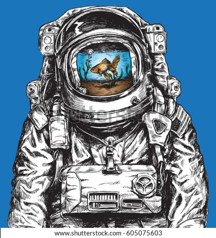 Hand drawn Astronaut Filled With Water and Goldfish
