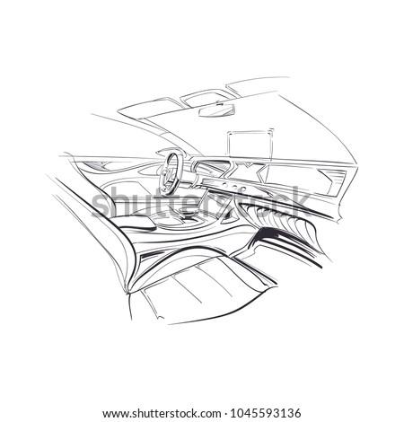hand drawn automobile interior