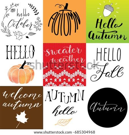 hand drawn autumn logos