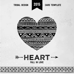 Hand drawn aztec style heart. Tribal design invitation card template. Vector illustration.