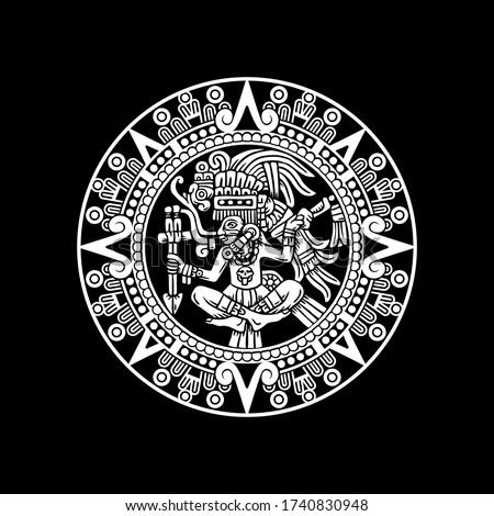 hand drawn aztec warrior medallion plaque, vector illustration