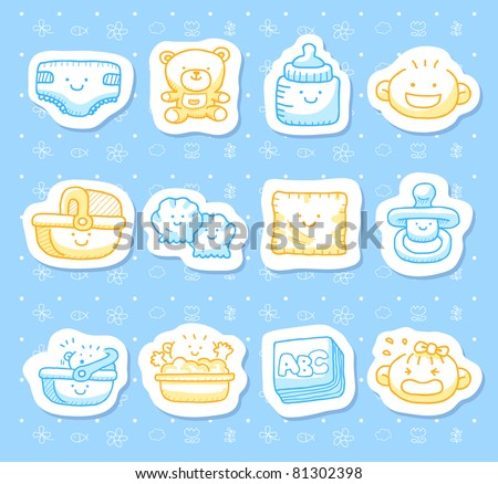 Hand drawn baby icons - stock vector