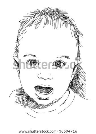 hand drawn baby portrait vector. Visit my portfolio for big collection of doodles