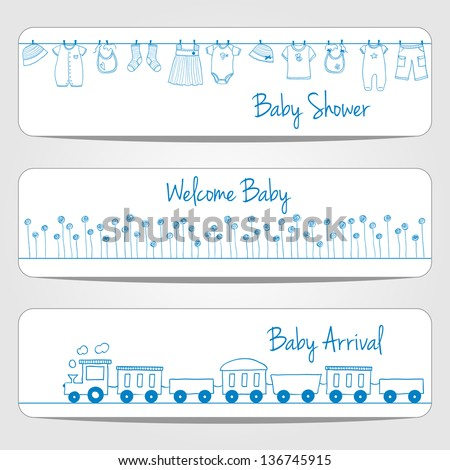 Hand drawn baby shower banners, doodle style