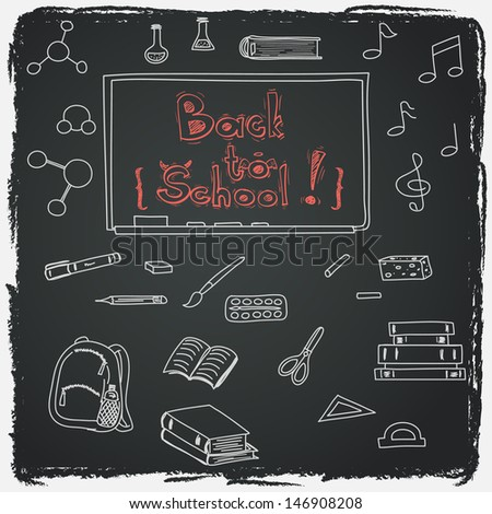 Hand drawn back to school doodles with school utensils. Design elements on chalkboard background. Sketched chalkboard, notes, books, paint, pencil, molecules.