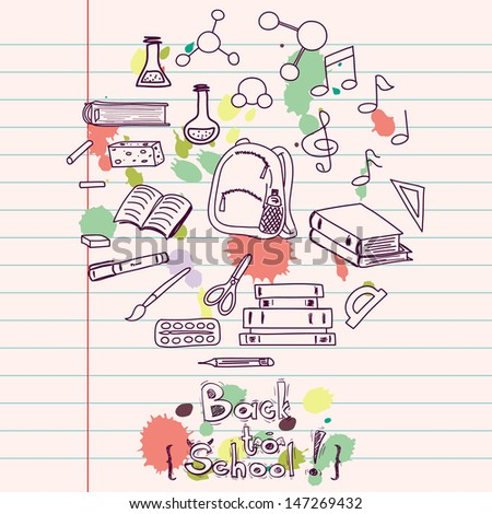 Hand drawn back to school doodles with school utensils. Design elements on lined notebook paper. Sketched chalkboard, notes, books, paint, pencil, molecules.
