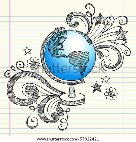 Hand-Drawn Back to School Geography Class Sketchy Notebook Doodles of a Planet Earth Globe with Swirls, Hearts, and Stars- Vector Illustration Design Elements on Lined Sketchbook Paper Background