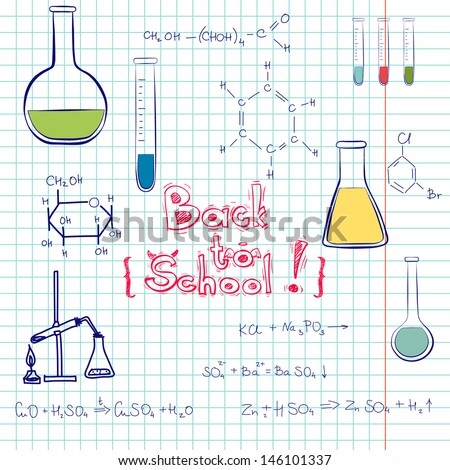 Hand drawn back to school sketch. Notebook doodles with chemical formulas, flasks and chemical reagents on squared notebook paper background. Hand drawn illustration.