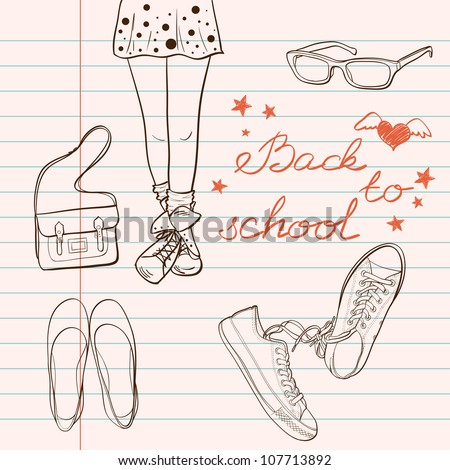 "Hand drawn ""Back to School"" sketch. Notebook doodles with lettering, girl's legs, bag, eyeglasses, flat shoes and sneakers. Vector Illustration. Design elements on lined notebook paper."