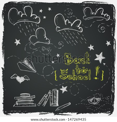 Hand drawn Back to School sketch. Notebook doodles with lettering, paper boat, paper plane, clouds, stars, hearts and books. Design elements on chalkboard background.