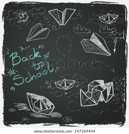 Hand drawn Back to School sketch. Notebook doodles with lettering, paper boats and paper planes. Design elements on chalkboard background. - stock vector