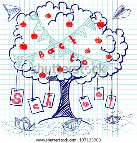 "Hand drawn ""Back to School"" sketch on squared notebook paper. Notebook doodles with lettering, paper boats, paper planes, tree, apples and bunting flags. Vector Illustration. Background"